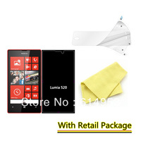 For Nokia Lumia 520 , LCD Film Clear Screen Protector Guard High Definition 10Pcs/Lots (10film+10cloth+10Retail Package)