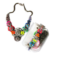 PVC handbag  jewelry setsTrendy luxury gem stone 3 layers flower chokers necklaces+rainbow handbag fashion jewelry Free Shipping