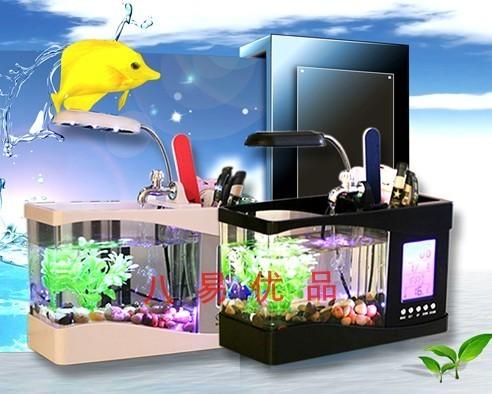 Mini fish tank office desk computer table usb small goldfish bowl aquarium belt lamp calendar clock(China (Mainland))
