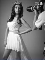 Custom sexy and elegant white wipes bosom high low, 2013 Homecoming Dresses Graduation Dresses