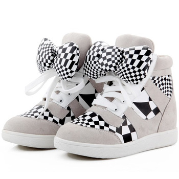 Hello Kitty Bowknot Sneakers,Genuine Leather 3 Color Style,EU35~41,Cow Muscle Soles,Heel Height 7cm,Drop Shipping/Free Shipping
