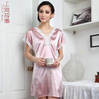 Spring and summer women's silk sleepwear plain sleeveless lacing nightgown short design lounge