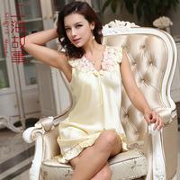Spring and autumn silk short-sleeve sleepwear summer modern women's nightgown