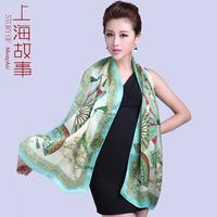 Peach blossom fan silk scarf women's mulberry silk gift silk scarf sun cape