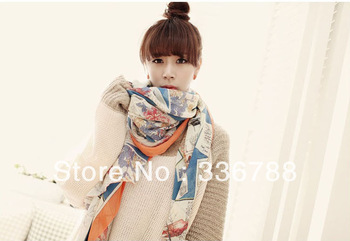 2013 Hot Korean Street Star Printed Silk Voile Scarf Five Colors