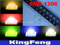 Free shipping (5Color 500 pieces/lot) SMD 1206 White Red Blue Green Yellow Super Bright LED