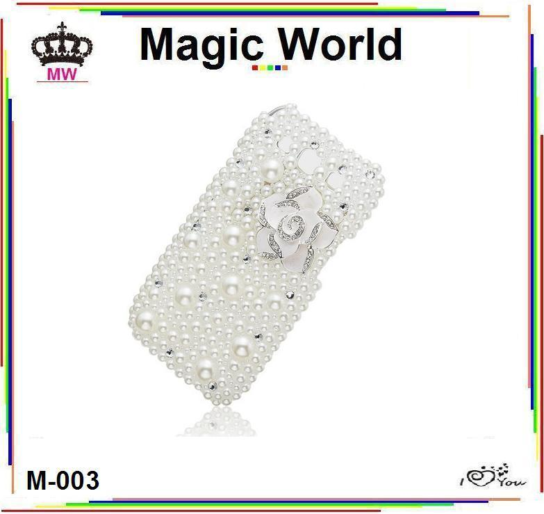 PEARL TRIM BOW FLOWER WHITE COLOR FANCY HANDMADE JEWELED CELL PHONE COVERS FREE SHIPPING(China (Mainland))
