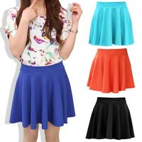 Women's all-match high waist candy color bust skirt short skirt female pleated skirt polka dot puff skirt summer