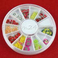 120pcs Mixed Color Fruit Fimo Canes Nail Decoration Nail Tips Slice Decoration Decals Decoration