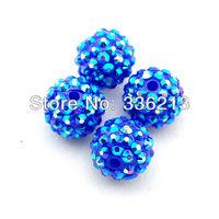 Top Quality 50 AB Royal Blue Resin Rhinestone Paved Acrylic Beads, 16mm Round Shamballa, Necklace, Earrings, Bracelet, Jewelry