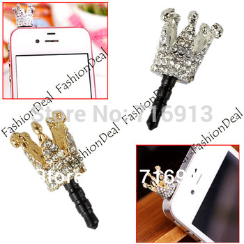New Lovely Cute Crown 3.5mm Anti Dust Crystal Earphone Jack Dust Plug Stopper Cap for iPhone Drop Shipping 5614