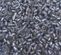 Free shipping!!!Silver Lined Glass Seed Beads,Celebrity, Tube, silver-lined, medium blue, 2x2mm, Hole:Approx 1mm