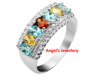 EMS Free shipping, colorful natural gem ring, 925 silver plated 18k white gold, colorful fashion  jewelery ring