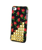 Fashion For iPhone 4 4G 4S 3D Flower Punk Style Nails Gold Rivets Studs Back Cover Case Skin