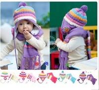 2014 New Rushed Children Accessories Hello Kitty Hat Conjuntos Pineapple Flower Child Hat Baby Winter Twinset Scarf Wire Cap