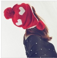 Love big ball knitted hat autumn and winter ear warm knitted hat