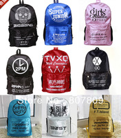 4pcs/lot for free shipping fashion backpack bigbang/super junior/snsd/2pm/tvxq/exo/exo-k/m/shinee/beast/ftisland/bap