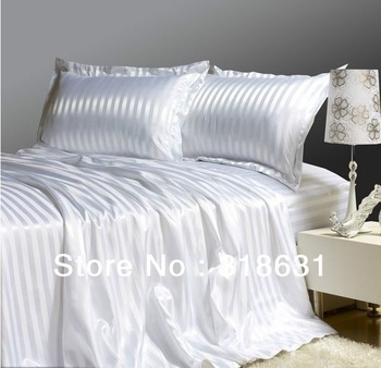 Textile 4 or 5pcs White Satin Stripes Soft Comfortable Doona Duvet Covers Bedding Bed Linen Comforter Sets in Full Queen