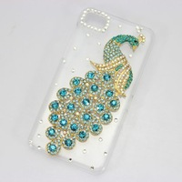 bling 3D clear case light blue peacock diamond rhinestone crystal hard cover for blackberry Z10