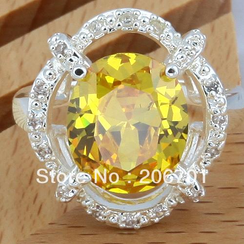 New Hot Citrine Cut Oval Silver Jewelry Semi-precious Stone Ring Size #10 Free Shipping(China (Mainland))
