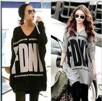 2013 spring women's long design V-neck women's fashion batwing sleeve t-shirt plus size long-sleeve lx8015