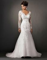 New Long Sleeve Organza White  Mermaid/Trumpet Wedding Dress