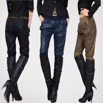Spring elastic waist harem pants leather pants boots pants elastic slim trousers basic 2013 female trousers