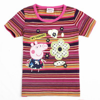Free shipping!100% cotton 2013 new  peppa pig Short-sleeved t -shirt girl skirts baby clothing
