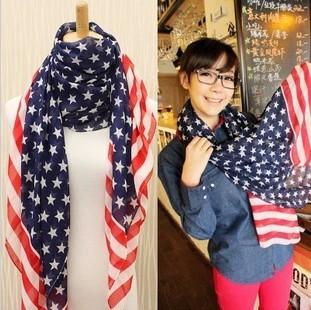 Guaranteed 100%+ Fashion ultralarge fashion ultra long stripe american flag pattern silk scarf cape muffler scarf female