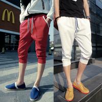 Baggy pants Knee lengt Rib knitting Sports Gray,White.Red.Black Men's Free shipping.2014 Summer M L XL XXL