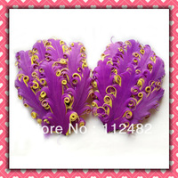 Free Shipping dark purple & yellow Mixed-color Curly feather pads Wholesale  50pcs / lots Gift