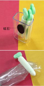 Free shipping 3Pcs Seal clips+1fridge magnet/set Fashion radish shape Bag Seal clips foodstuff milk powder convenient clip