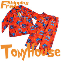 In Stock Wholesale Children Boy's Cartoon Spiderman 100 Cotton Winter Flannel Pajamas Pyjamas Free Shipping