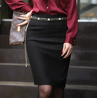 Free Shipping Korean Fashion High Quality OL Style Pure Color Empire Waist Black Pencil Skirt With Belt