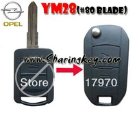 Free Shipping  Opel Remodeling Long 2 Button Remote Key case shell YM28 Blade