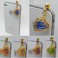 Beautiful heart style earphone jack plug anti dust plug for 3.5mm phone