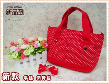 Classic polka dot print canvas tote handbag small handbag cross-body handbag clutch  MOQ>=10USD