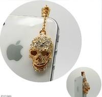 daimond Ghostly Skull II style earphone jack plug anti dust plug for 3.5mm phone