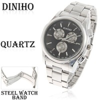Wholesale Free Shipping Stylish Diniho Men's Wrist Watch with Japan Movt Strips Indicate Time Black Dial Steel Band