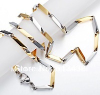 Brand new Stainless Steel Men's 2.5mm Stick Necklace Silver&Gold link chain Necklace, FREE SHIPPING