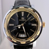 Clock! Fashion Leather Band Automatic Mechanical Watch Golden Free Shipping