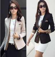 2014  new leopard blazer women's spring summer korean style coat fashion jacket one button leopard decorated jacket  T202