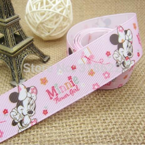 "Free shipping 1""(25MM) Pink Minnie Cartoon Printed Grosgrain Ribbon Tapes Kids DIY Hairbow Materials 10 yards/lot(China (Mainland))"