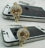 daimond Ghostly Skull style earphone jack plug anti dust plug for 3.5mm phone