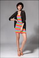 2151 2013 100% cotton fashion personality stripe slim lengthen tank dress
