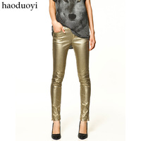 Gold  trf denim casual pants pencil pants slim bronzier  pants