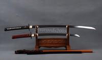 1095 Clay Tempered Japanese Samurai Full Tang Swords Set Katana Wakizashi
