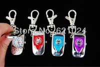 Wholesale 10 pcs Cute Mobile phone Key Ring Quartz Pocket Watch (4 colours) boy girl student watch SL64