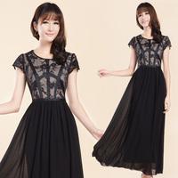 Novelty Women's long design dress vintage full maxi dress slim short-sleeve chiffon lace cutout black skirt plus size