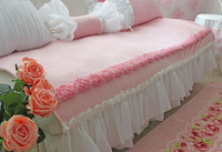Ultrafine powder velvet princess pink velvet three-dimensional flower double chaise single customize sofa cushion cover